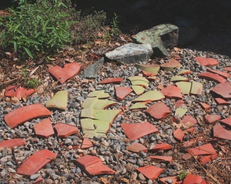 Broken clay pot groundcover