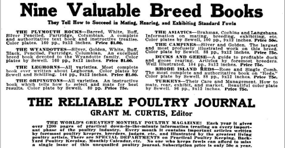 1919 books illustrated and published by Reliable Poultry Journal