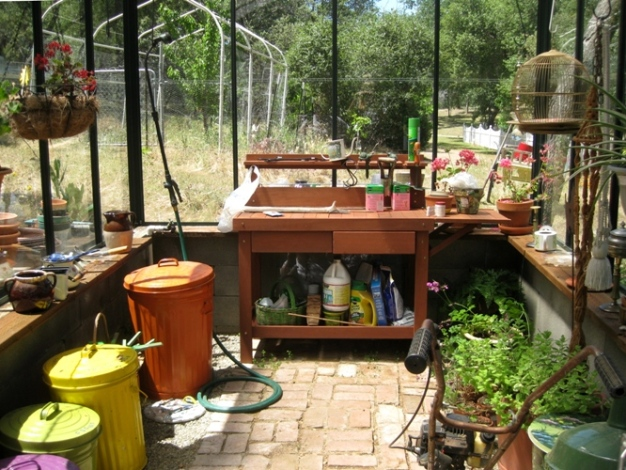 Inside, Diane has all her tools, potting soils, a place to work and space to hold overwintering plants