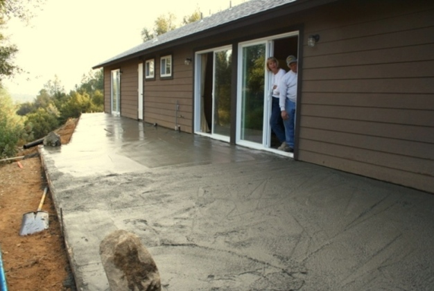 Stamped Concrete Patio poured in 2005, our alternative to a deck.