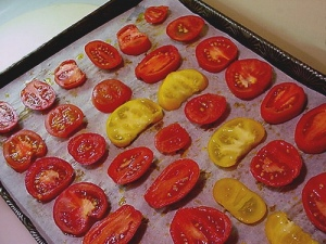 Tomatoes . . .. . . go into the oven for drying!