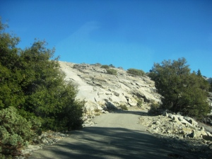 The road bisects huge granite faces