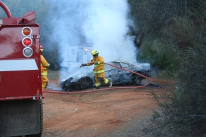 2007 Jan 20-Stolen car fire put out by fireman