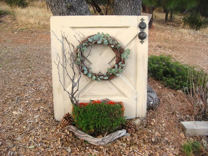 Dutch door with a terracotta planter