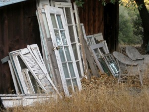 My stash of old doors, windows and shutters