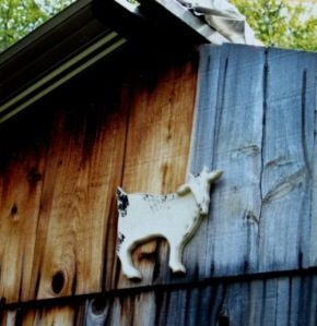 Wooden goat marks the shed exterior wall