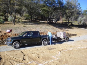 We dared to drive two pallets of wall bricks in our truck, 45 miles from Fresno
