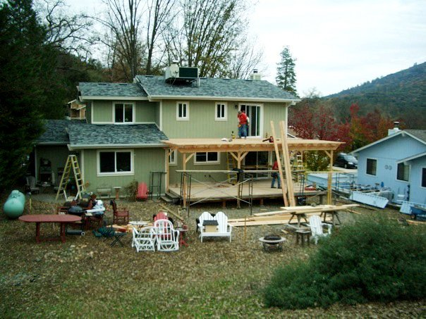 A two story deck is added